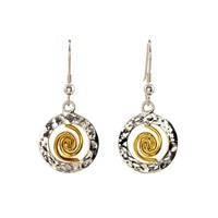 Image for Spiral of Life 22ct Gold Vermeil Spiral Circle Small Earrings