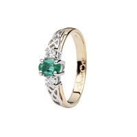 Image for Celtic Trinity Ring - 3 Stone Oval Emerald and Diamond 14ct Yellow