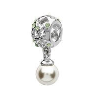 Sterling Silver Swarovski Pearl and Crystal Turtle Bead