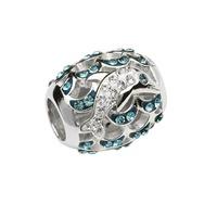 Sterling Silver Swarovski Aqua Crystal Dolphin Bead