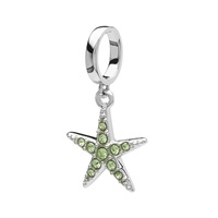 Image for Sterling Silver Swarovski Peridot Crystal Star Bead