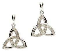 Image for Celtic Trinity Knot Diamond Earrings