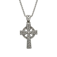 """Image for Sterling Silver Unisex Celtic Cross with 20"""" Spiga Chain"""