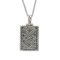 "Image for Sterling Silver Celtic Dog Tag Pendant with Spiga 20"" Chain"