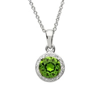Image for Sterling Silver Green/White Swarovski Halo Necklace