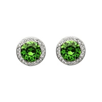 Image for Sterling Silver Green/White Swarovski Halo Earrings