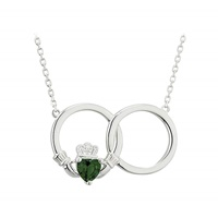 Image for Sterling Silver Crystal Claddagh Circle Necklet