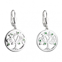 Image for Sterling Silver Crystal Tree Of Life Drop Earrings