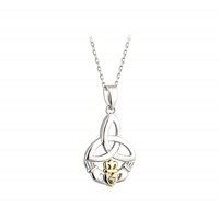 Image for Sterling Silver 10K Gold and Diamond Trinity Claddagh Pendant