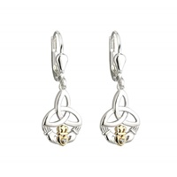 Image for Silver 10K Gold and Diamond Trinity Claddagh Drop Earrings