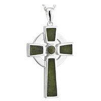 Image for Sterling Silver Connemara Marble Inlaid Small Celtic Cross Pendant