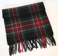 Image for 100 % Lambswool Scarf- Black Stewart Tartan