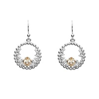 Image for Sterling Silver Trinity Princess Rose Gold Plate CZ Drop Earrings