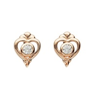 Image for Sterling Silver Trinity Princess Rose Gold Plate CZ Stud Earrings