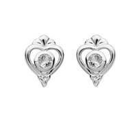 Image for Sterling Silver Trinity Princess CZ Stud Earrings