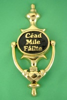 Image for Brass Cead Mile Failte Claddagh Door Knocker, Black