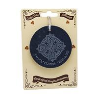 Image for Natural Slate Hanging Ornament, Celtic Cross