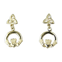 Image for 14K Gold Claddagh and Tiny Trinity Drop Earrings