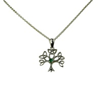 Image for Facet Sterling Silver Tree of Life Pendant with Emerald