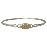 Image for Sterling Silver Celtic and Claddagh Two Tone Bangle Bracelet