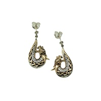 Keith Jack Dragon Earrings Gold with White Sapphire