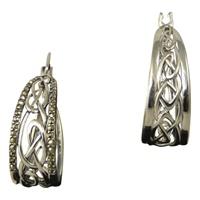 Image for Marcasite Celtic Knotwork Hoop Earrings