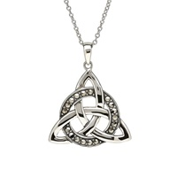 Image for Sterling Silver Trinity Circle with Marcasite Pendant
