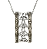 Image for Sterling Silver and Marcasite Trinity Knot Pendant