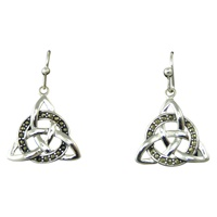 Image for Sterling Silver Marcasite Celtic Drop Earrings