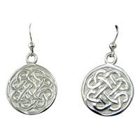 Image for Sterling Silver Celtic Disc Drop Earrings