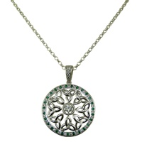 Image for Trinity Knot CZ and Emerald Stone Set Small Round Pendant