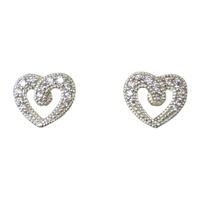 Image for Sterling Silver CZ Heart Stud Earrings