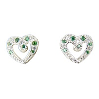 Image for Sterling Silver CZ Heart Stud Earrings with Green Emerald
