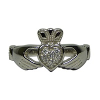 Image for Sterling Silver Claddagh Ring with CZ Cluster