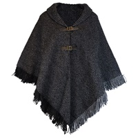 Branigan Weavers Claire Shawl Black and Stone Herringbone