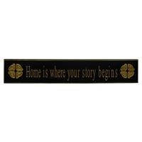 Image for Home is Where Your Story Begins Celtic Knot Wooden Carved Wallboard, Black