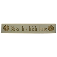 "Image for Wooden Carved Wallboard ""Bless This Irish Home"" - White"