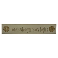 Image for Home is Where Your Story Begins Celtic Knot Wooden Carved Wallboard, White