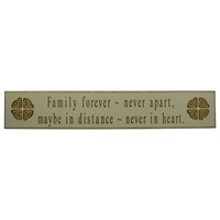 "Image for Wooden Carved Wallboard ""Family forever, never apart, Maybe in distance, never in heart"" - White"
