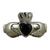 Image for Silver Claddagh Black Onyx Heart Ring