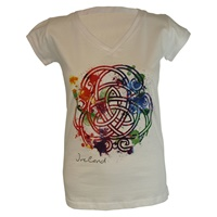 Image for White Coloured Celtic Knot V-Neck T-Shirt