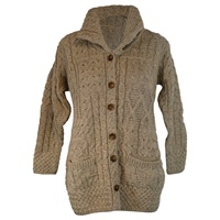 Image for Buttoned Funnel Neck Wool Cardigan, Merino Wicker