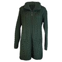 Image for Merino Wool Aran Zip Cardigan, Connemara Green