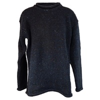 Image for Irish Roll Neck Sweater by Rossan Knitwear Donegal- Dark Blue