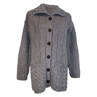 Image for Ladies Aran Merino Wool Sweater, Grey