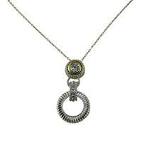 Image for Inis Aran Cable Stitch Pendant-Clear CZ