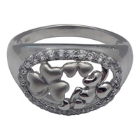 Image for Oval Shamrock Silver Ring with Cubic Zirconia