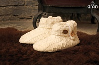 Image for Kids Aran Wool Slippers, White