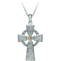 Image for Celtic Warrior Cross Sterling Silver and 18K Yellow Gold Bead - Medium