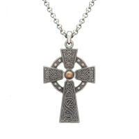 Image for Antiqued Silver and Rose Gold Plated Bead Large Celtic Warrior Cross